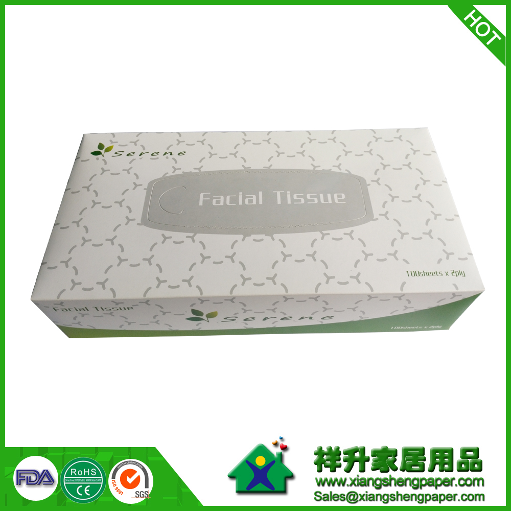 Promotional Box Tissue Paper 100Sheets/Custom Printed Boxed Facial Tissue/OEM Box Facial Tissue/Cube Boxes Pull Facial Tissue